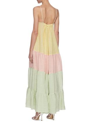 背面 - 点击放大 - LISA MARIE FERNANDEZ - ST TROPEZ拼色褶裥混亚麻吊带连衣裙