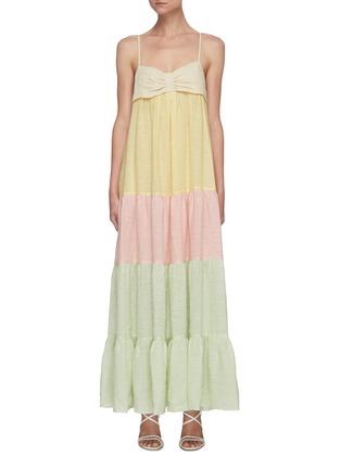 首图 - 点击放大 - LISA MARIE FERNANDEZ - ST TROPEZ拼色褶裥混亚麻吊带连衣裙