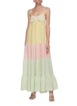 模特儿示范图 - 点击放大 - LISA MARIE FERNANDEZ - ST TROPEZ拼色褶裥混亚麻吊带连衣裙