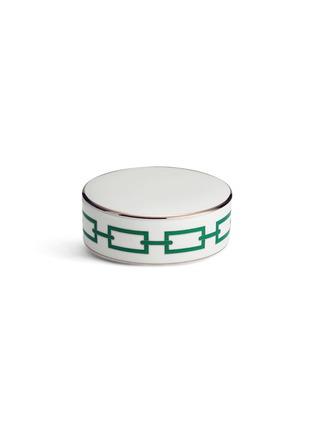 首图 –点击放大 - RICHARD GINORI - CATENA SMERALDO金围边链条图案陶瓷圆盒-绿色(11cm)