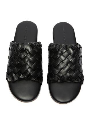 细节 - 点击放大 - BOTTEGA VENETA - Foot Bed交叠编织真皮拖鞋