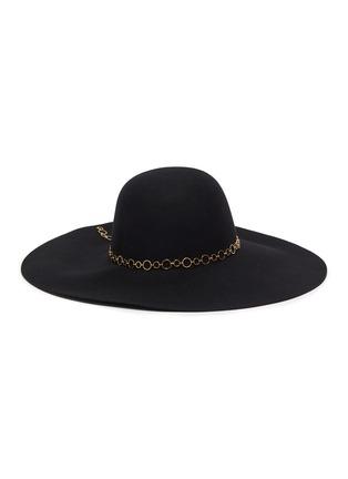 模特儿示范图 - 点击放大 - EUGENIA KIM - BUNNY圆环链条帽带羊毛毡宽檐帽