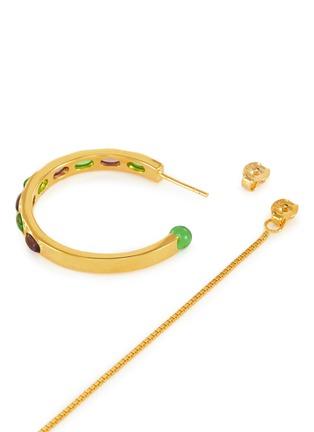 细节 - 点击放大 - Ejing Zhang - 可拆式半圆环链条树脂镀18k金纯银吊坠耳环