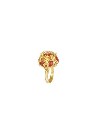 细节 - 点击放大 - CENTAURI LUCY - EYCK钻石珍珠母贝点缀花簇造型18K黄金戒指