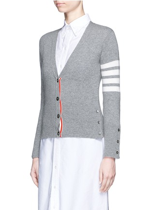 正面 -点击放大 - THOM BROWNE - 条纹点缀羊绒针织衫