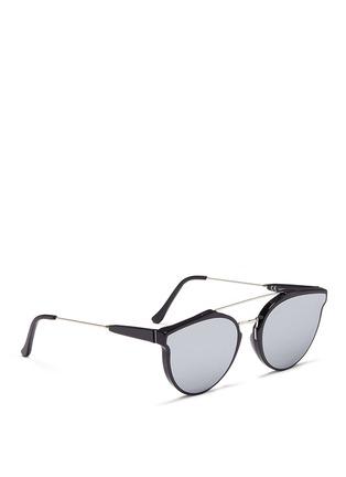 模特儿示范图 - 点击放大 - SUPER - GIAGUARO中性款金属拼接圆框太阳眼镜