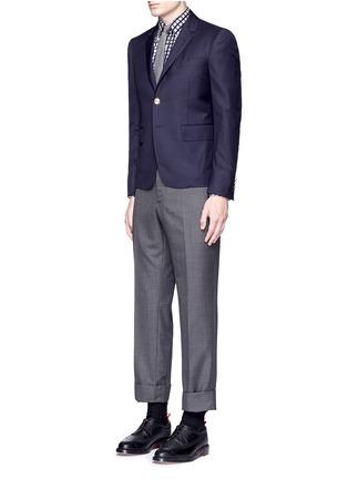 模特示范图 - 点击放大 - Thom Browne - 格纹纯棉衬衫