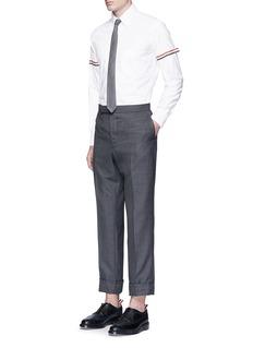 THOM BROWNE 三色条纹拼贴纯棉牛津纺衬衫