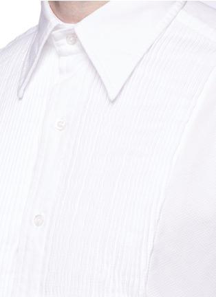 细节 - 点击放大 - THOM BROWNE - 褶饰拼贴菱格提花礼服衬衫