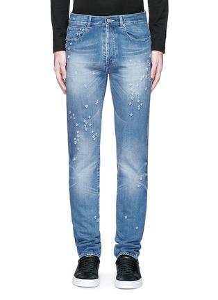 细节 - 点击放大 - GIVENCHY - 磨破水洗纯棉修身牛仔裤
