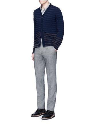 模特儿示范图 - 点击放大 - ALTEA - 拼色毛绒条纹混羊毛针织外套