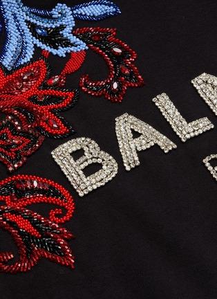 - BALMAIN - 仿水晶珠饰品牌名称花叶图案短款纯棉连帽卫衣