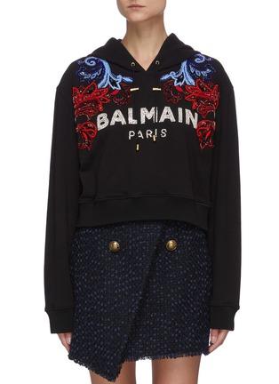 首图 - 点击放大 - BALMAIN - 仿水晶珠饰品牌名称花叶图案短款纯棉连帽卫衣