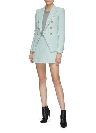 模特儿示范图 - 点击放大 - BALMAIN - 枪驳领双排扣混棉粗花呢西服外套
