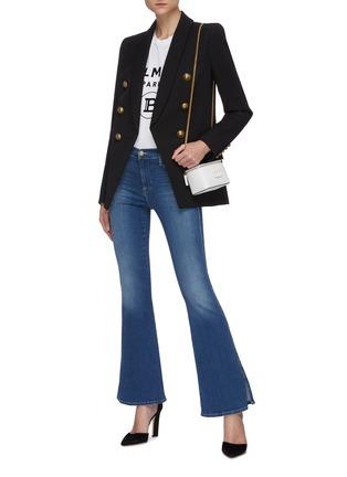模特儿示范图 - 点击放大 - BALMAIN - 青果领金属钮扣oversize羊毛西服外套