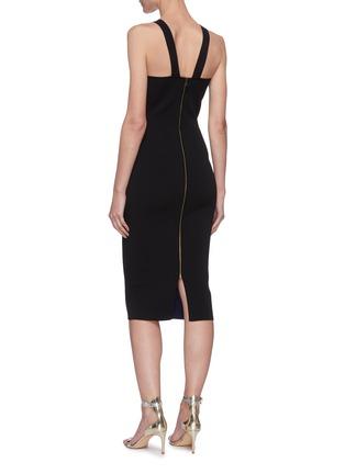 背面 - 点击放大 - ROLAND MOURET - KLINT拼色褶裥开衩无袖连衣裙