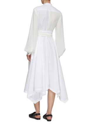 背面 - 点击放大 - JW ANDERSON - 仿包裹式拼接设计不规则褶裥裙摆衬衫式连衣裙