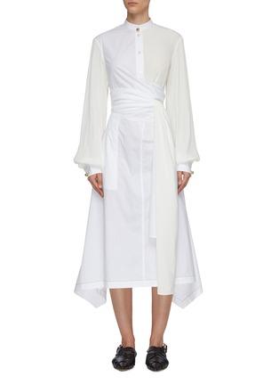 首图 - 点击放大 - JW ANDERSON - 仿包裹式拼接设计不规则褶裥裙摆衬衫式连衣裙
