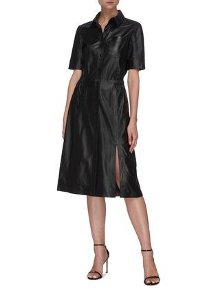 模特儿示范图 - 点击放大 - ALTUZARRA - KURA侧开衩小羊皮连衣裙