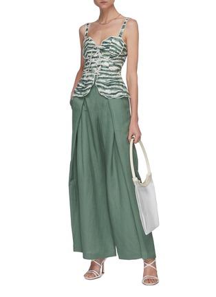 模特儿示范图 - 点击放大 - CULT GAIA - Whitney褶裥混亚麻阔腿裤