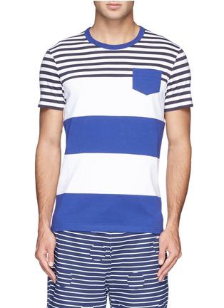 首图 - 点击放大 - MONCLER - 拼色条纹纯棉T恤
