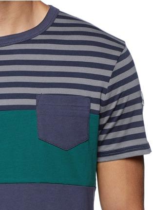 细节 - 点击放大 - Moncler - 拼色条纹纯棉T恤