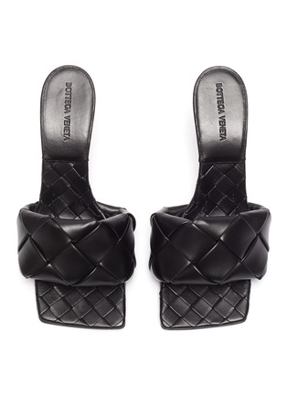 模特儿示范图 - 点击放大 - BOTTEGA VENETA - LIDO交叠编织真皮高跟穆勒鞋