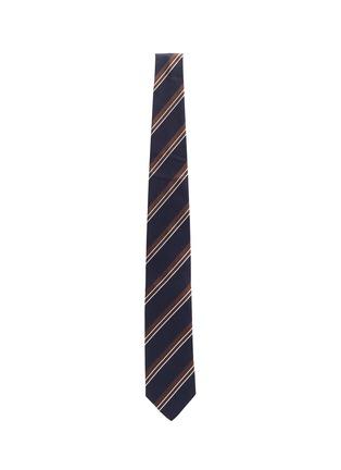 模特儿示范图 - 点击放大 - STEFANOBIGI MILANO - 拼色条纹真丝领带