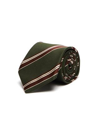 首图 - 点击放大 - STEFANOBIGI MILANO - 拼色条纹丝混羊毛领带