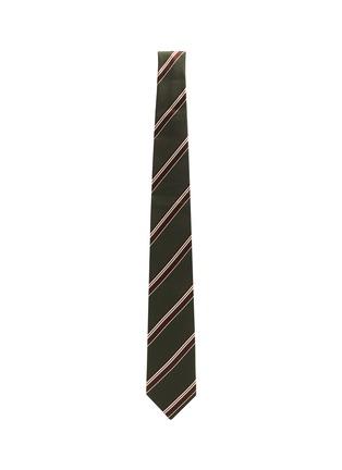 模特儿示范图 - 点击放大 - STEFANOBIGI MILANO - 拼色条纹丝混羊毛领带