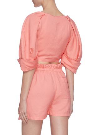 背面 - 点击放大 - CULT GAIA - Johanna泡泡袖系带镂空短款亚麻上衣