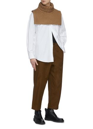 模特儿示范图 - 点击放大 - JIL SANDER - 抽绳裤腰露踝裤