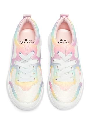模特儿示范图 - 点击放大 - WiNK - Bagel闪粉点缀拼色系带真皮运动鞋