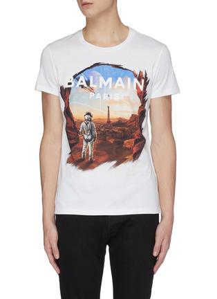 首图 - 点击放大 - BALMAIN - 宇航员埃菲尔铁塔图案纯棉T恤