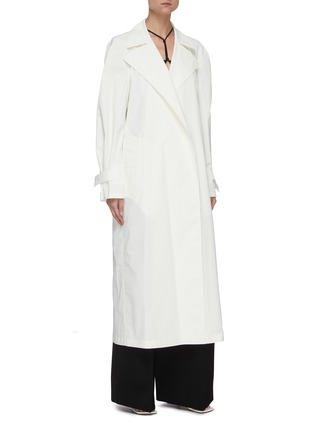 细节 - 点击放大 - BOTTEGA VENETA - 三角形扣饰腰带oversize纯棉大衣