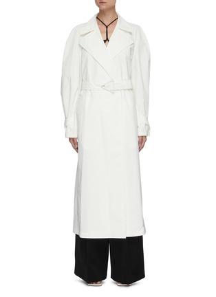 首图 - 点击放大 - BOTTEGA VENETA - 三角形扣饰腰带oversize纯棉大衣