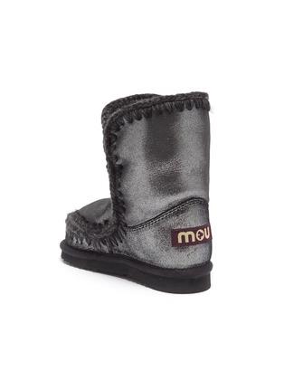 细节 - 点击放大 - MOU - Eskimo Tall儿童款钩织围边金属感绵羊皮短靴