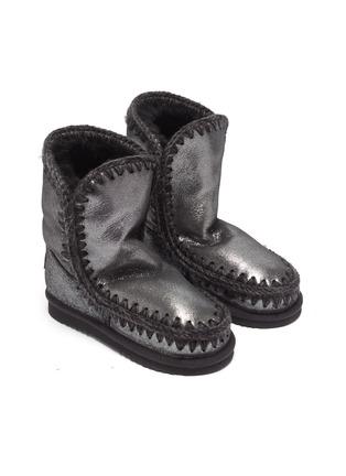 模特儿示范图 - 点击放大 - MOU - Eskimo Tall儿童款钩织围边金属感绵羊皮短靴