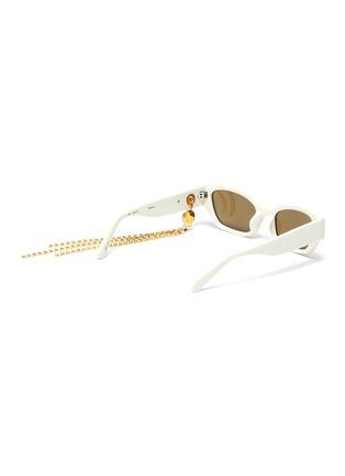 模特儿示范图 - 点击放大 - Magda Butrym - x Linda Farrow仿水晶链条点缀板材猫眼太阳眼镜