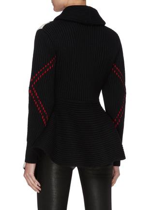 背面 - 点击放大 - ALEXANDER MCQUEEN - 拼色几何图案混羊毛针织开衫