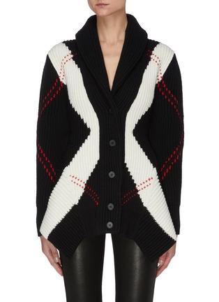 首图 - 点击放大 - ALEXANDER MCQUEEN - 拼色几何图案混羊毛针织开衫