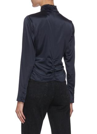 背面 - 点击放大 - FRAME DENIM - Felicity镂空褶裥高领混丝衬衫