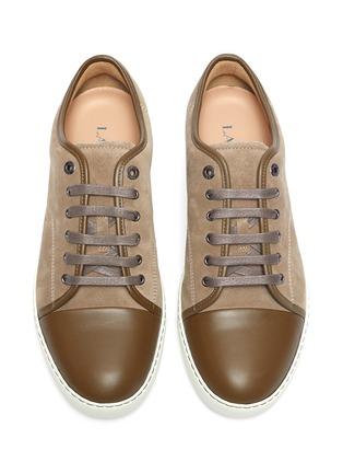 细节 - 点击放大 - LANVIN - 漆皮拼接绒面小牛皮运动鞋