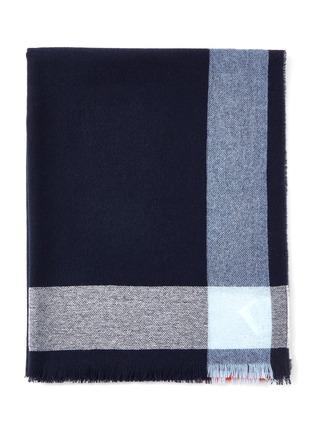 细节 - 点击放大 - JOHNSTONS OF ELGIN - 须边拼色条纹羊绒披肩