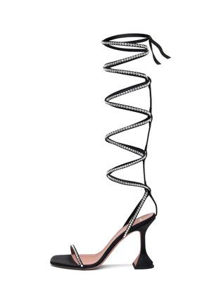 首图 - 点击放大 - AMINA MUADDI - X AWGE GALDI仿水晶点缀绕踝式缎面凉鞋