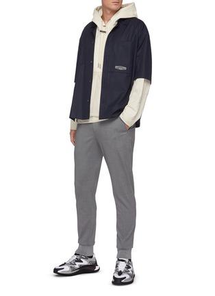 模特儿示范图 - 点击放大 - WOOYOUNGMI - 半松紧裤腰混羊毛休闲裤