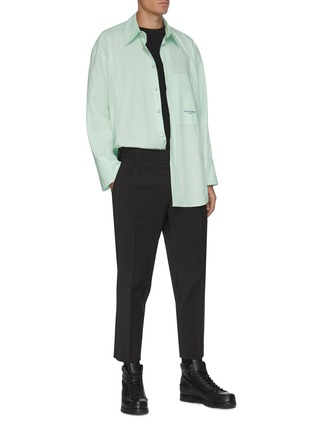 模特儿示范图 - 点击放大 - WOOYOUNGMI - 褶裥混羊毛露踝裤
