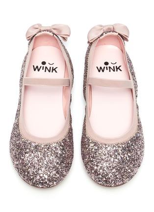 模特儿示范图 - 点击放大 - WiNK - SODA POP儿童款蝴蝶结闪粉平底鞋