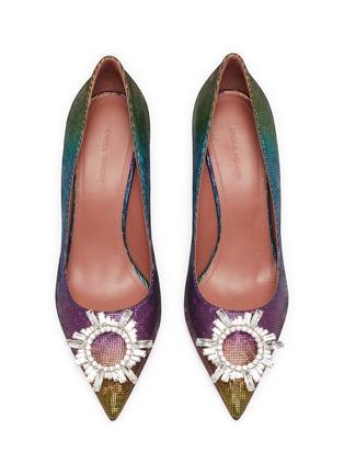 细节 - 点击放大 - AMINA MUADDI - BEGUM仿水晶点缀几何鞋跟幻彩真皮高跟鞋