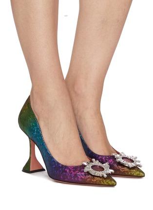 模特儿示范图 - 点击放大 - AMINA MUADDI - BEGUM仿水晶点缀几何鞋跟幻彩真皮高跟鞋